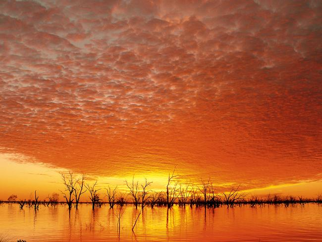 Beautiful ... Sunset at Lake Pamamaroo, Menindee Lakes, NSW Picture: Tony Derix.