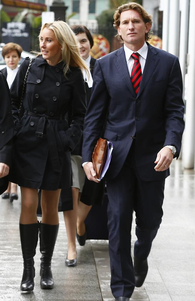 James Hird and his wife, Tania, arrive at Federal Court. Picture: Michael Klein