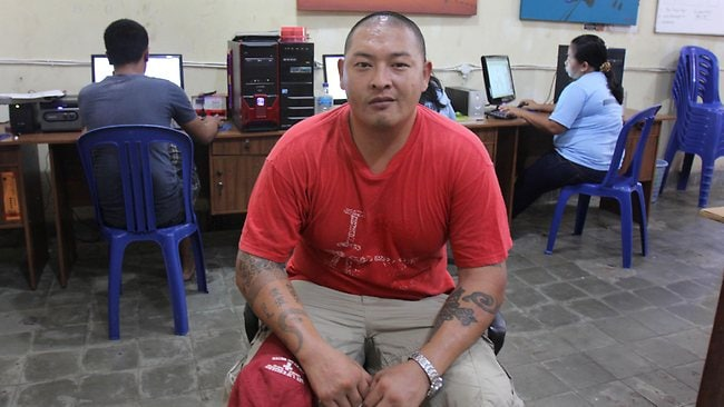 Andrew Chan inside a workshop at Kerobokan Jail in Bali. Picture: Bintoro Luckman