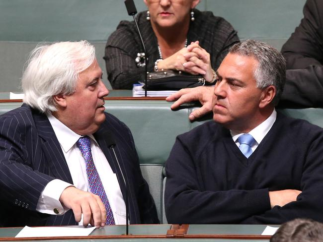 Now son this is now it will be ... Clive Palmer is not running Canberra, says Treasurer Joe Hockey.