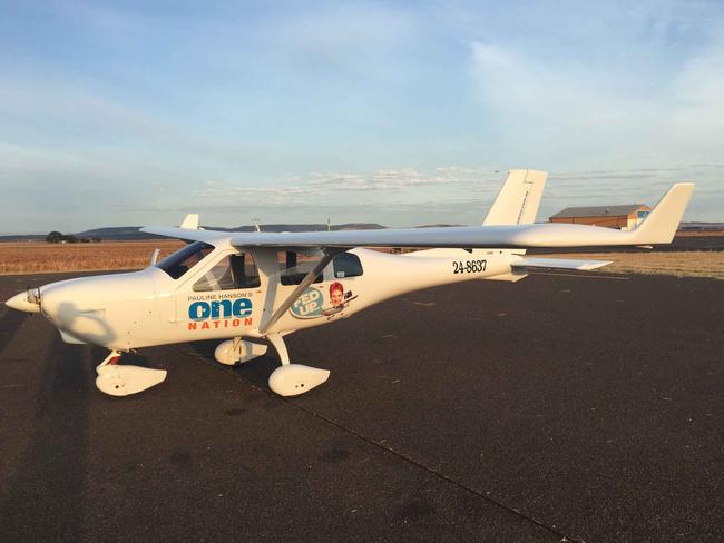 The plane that James Ashby and Pauline Hanson use to travel in. Picture: Supplied