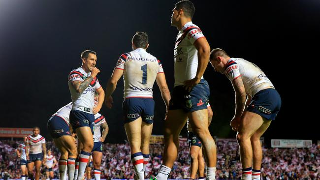 Roosters concede a try. Picture: Mark Evans