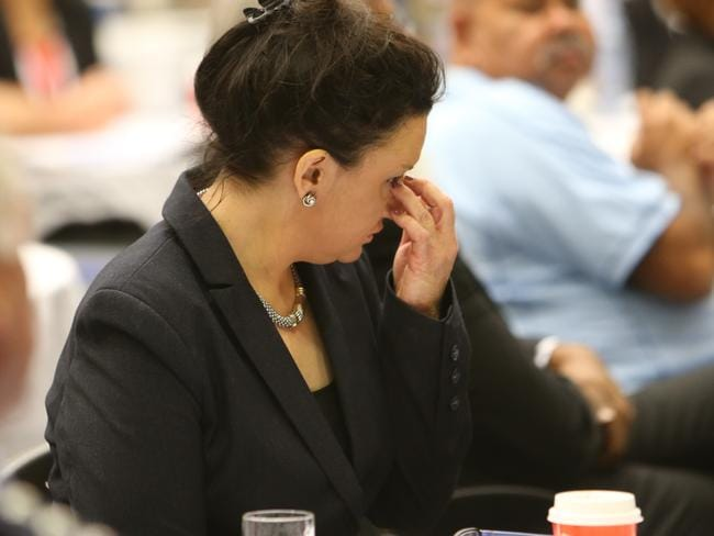 Jacqui Lambie was emotional while announcing her decision to resign this morning. Picture: Annette Dew