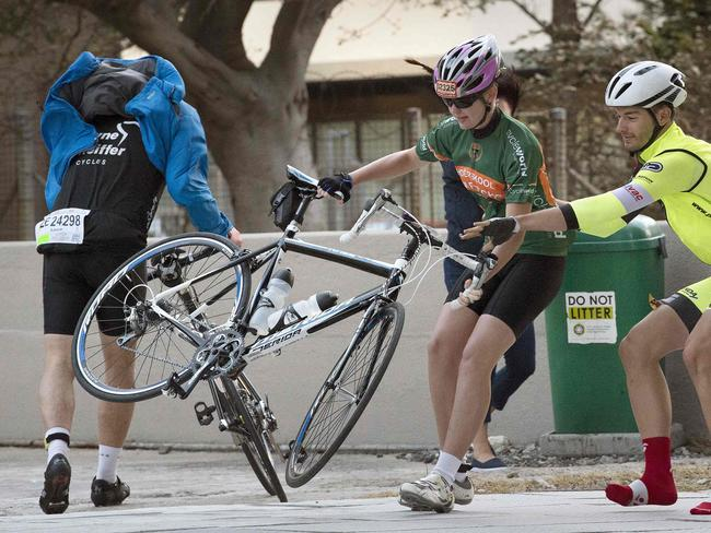 You know it's windy when your bike is trying to fly away on the breeze. Picture: AFP/Rodger Bosch