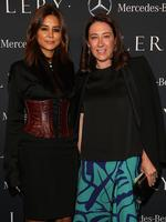 Vogue Fashion Editor Christine Centenera and Vogue Editor Edwina McCann attend the Mercedes-Benz Presents Ellery show at Mercedes-Benz Fashion Week Australia 2015 at Carriageworks on April 12, 2015 in Sydney, Australia. Picture: Getty