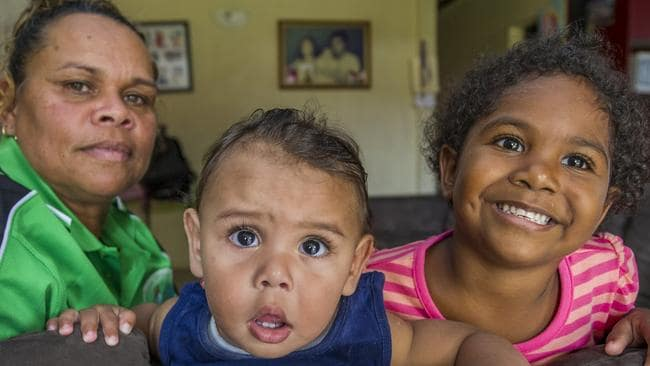Sarah Addo with her grandchildren Cooper, 11 months, and Sarah-Jane 3, at their home in West Cairns. Picture: Brian Cassey
