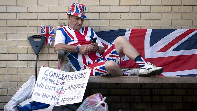 Royal supporter Terry Hutt settles in at The Lindo Wing of Saint Mary's Hospital in London, where the Duchess of Cambrige is due to give birth. Picture: AFP