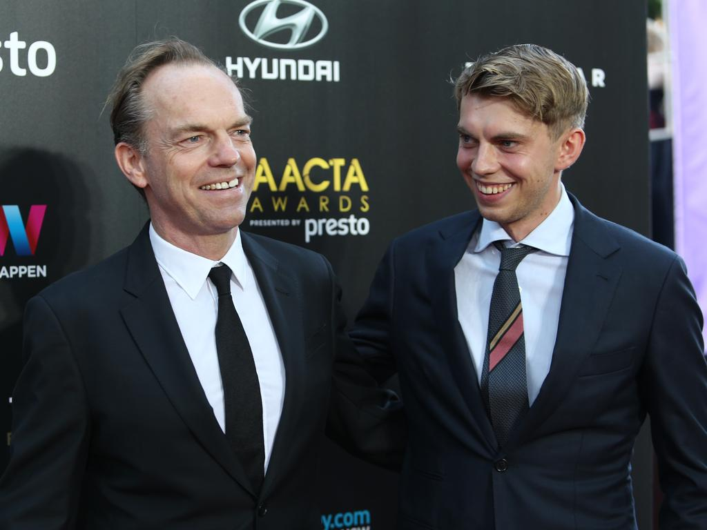 Hugo Weaving and son Harry Greenwood arrive ahead of the 5th AACTA Awards Presented by Presto at The Star on December 9, 2015 in Sydney, Australia. Picture: Richard Dobson
