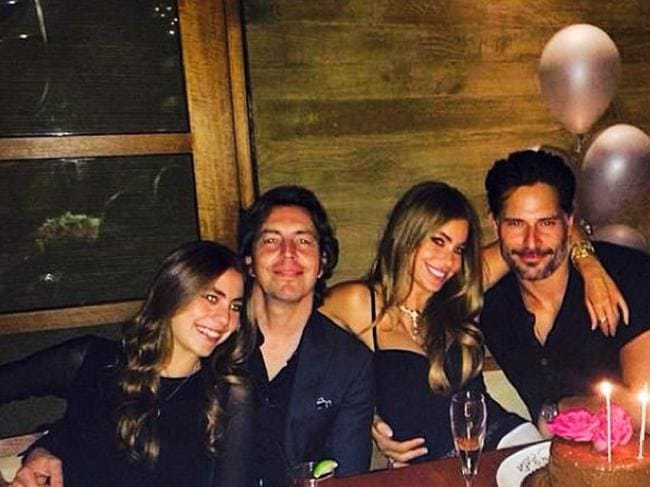 Big smiles ... Sofia Vergara and Joe Manganiello, right, celebrate Vergara's 42nd birthday along with her niece, Claudia, who posted this picture to Instagram.