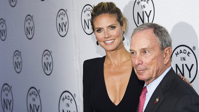 Heidi Klum, seen with New York mayor Michael Bloomberg during the Made in New York Awards, was spotted in a heated argument with her boyfriend at a trendy New York pub. Picture: AP