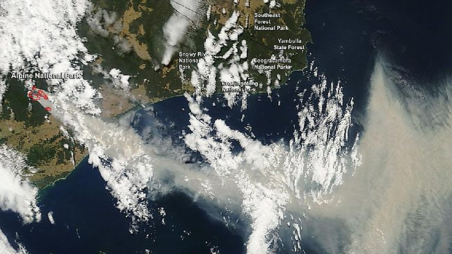 Fires and Smoke in New South Wales, Australia NASA's Terra satellite passed over the southeastern Australia on Jan. 17, 2013, and captured plumes of smoke from fires near Alpine and Snowy River National Parks as the New South Wales reached near record high temperatures. On Jan. 18, a record high temperature was recorded at Sydney, Australia's Observatory Hill where the mercury peaked at 45.8 C (114.4 F) according to Yahoo News, Australia. The old record of 45.3 C (113.5 F) dated back to Jan. 14, 1939. The scorching heat has caused tinder dry conditions that have fueled wildfires in New South Wales and Victoria. The Australian Bureau of Meteorology (ABM) issued a Fire Weather Warning for the Australian Capital Territory on Friday, Jan. 18, where there is severe fire danger. ABM also issued a Fire Weather Warning for the Greater Hunter, Greater Sydney Region, Illawarra/Shoalhaven, Far South Coast, Monaro Alpine, Southern Ranges, Central Ranges, Lower Central West Plains, Southern Slopes, Eastern Riverina, Southern Riverina and Northern Riverina fire areas. The Brisbane Times reported on Jan. 7 that a total fire ban was declared throughout the state of New South Wales and that was still in effect on Jan. 18. The Moderate Resolution Imaging Spectroradiometer (MODIS) instrument that flies aboard NASA's Terra satellite captured the image of smoke and fires at 2335 UTC (6:35 p.m. EST/U.S.). The smoke appears to be a light brown color. The multiple red pixels are heat signatures (red) detected by MODIS. The image is false-colored to make the red areas stand out more. A large thick plume of smoke appears to be streaming from multiple fires near the Alpine National Park and accumulating over the Tasman Sea. Image credit: NASA/Jeff Schmaltz, MODIS Rapid Response Team. Text credit: NASA's Goddard Space Flight Center/Rob Gutro