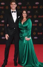 Zac Smith of the Cats and his wife Aimee Smith arrive ahead of the 2017 Brownlow Medal at Crown Entertainment Complex on September 25, 2017 in Melbourne, Australia. Picture: Quinn Rooney/Getty Images