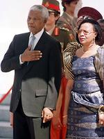 Mandela with his wife Graca Machel during the national salute at the opening of parliament in Cape Town Feb 05, 1999. Picture: AP