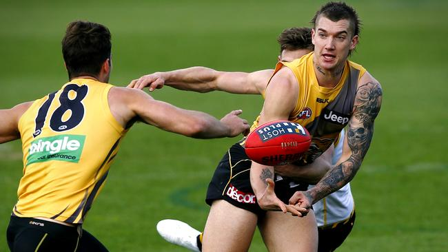 Tiger Dustin Martin in full flight at Richmond training. Picture: Wayne Ludbey