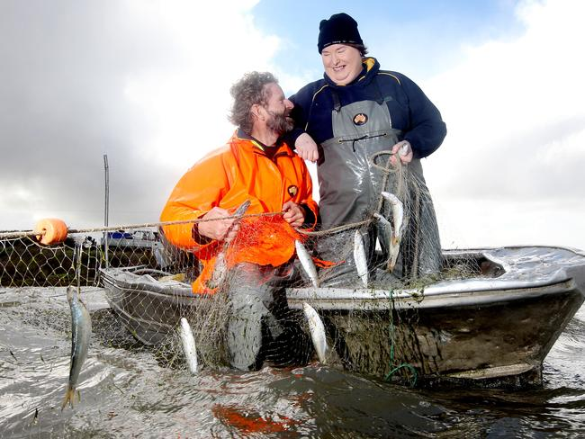 Glen and Tracy Hill from Coorong Wild Seafood, which has won major national award for its yellow-eye mullet. Picture: Calum Robertson