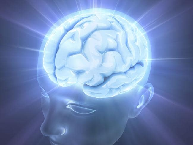 Artwork — generic image of head and brain. Glowing blue brain on top of head representing electrical activity.