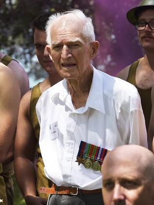 Jim Yellend, the oldest living veteran, at the 76th Bombing of Darwin Anniversary Ceremony Picture: KERI MEGELUS