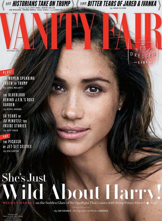 Markle on the cover of Vanity Fair. Picture: Peter Lindbergh for Vanity Fair