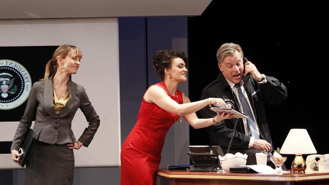 On stage for the Melbourne Theatre Company's  <i>The Speechmaker, </i>Kat Stewart plays Katie Mitchell, a senior political adviser alongside Sheridan Harbridge who plays the White House press secretary and Erik Thomson who plays none other than the President of the United States. Picture: Jeff Busby
