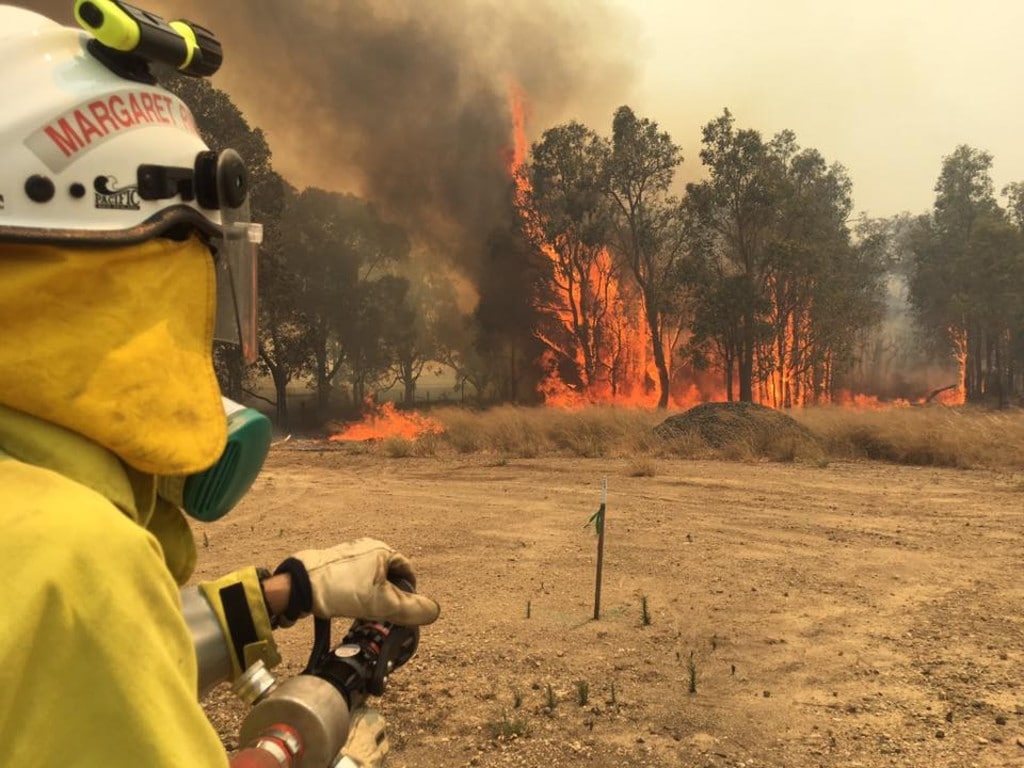 Waroona bushfire. Firefighters battle huge blaze threatening towns in WA's South West, including Waroona and Harvey. Picture: Facebook/Margaret River Volunteer Fire & Rescue Service