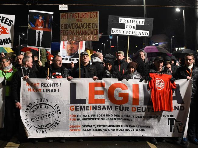 The PEGIDA march is a symptom of growing anti-refugee sentiment in Germany. Picture: AFP / Tobias Schwarz