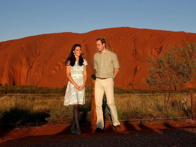 Destination Australia ... the Duke and Duchess of Cambridge watch on as the sunsets on Uluru. Picture: Gregg Porteous