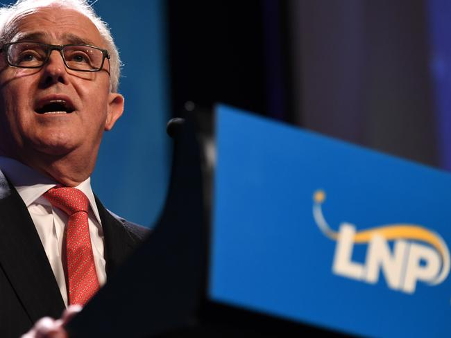 Australian Prime Minister Malcolm Turnbull speaks at the Liberal National Party (LNP) state conference in Brisbane, Saturday, July 15, 2017. (AAP Image/Dan Peled) NO ARCHIVING