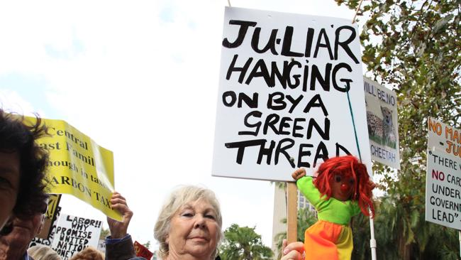 Demonstrators protest the Gillard government's carbon tax. Picture: Brianne Makin