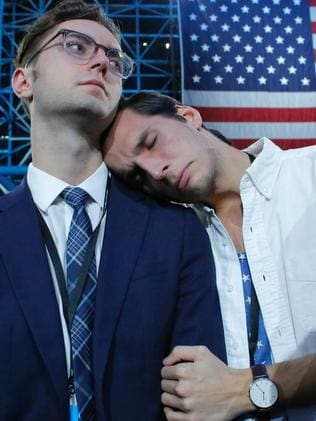 Hillary Clinton supporters react during election night. Picture: Supplied