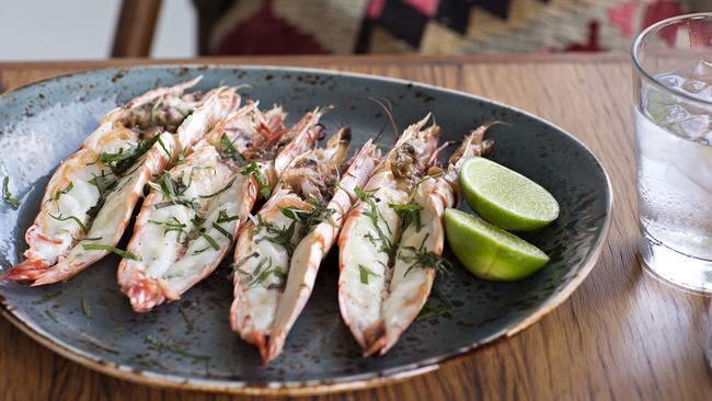 Matt Moran's grilled prawns with oregano and lime.