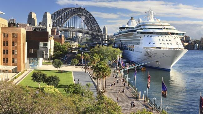 ESCAPE: CRUISE WISDOM MAY 15 .. Sydney, Australia - December 1, 2013; Luxury Cruise liner, Radiance of the Seas, docked at Circular Quay and passengers disembark. Picture: istock