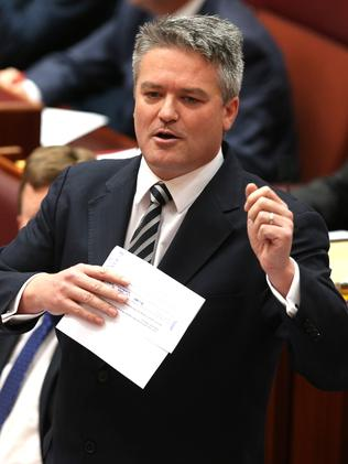 Defence ... Finance Minister Senator Mathias Cormann in Question Time in the Senate.