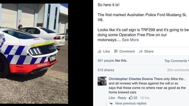 While the lights and sirens are yet to be fitted the car is well advanced on its way to frontline highway patrol work. Picture: Facebook