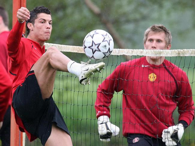 Cristiano Ronaldo at Manchester United's Carrington training ground in 2007. Ronaldo was at United when Adam Thurston was in the Red Devils' youth system. Picture: AP