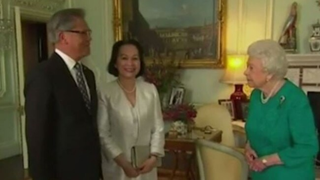 SA Governor Hieu Van Le and wife Lan chat to the Queen. Picture: Channel 9