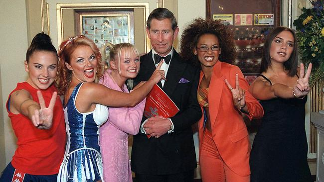 Prince Charles with the Spice Girls at the Manchester Opera House. Picture: Tim Graham / Getty Images.