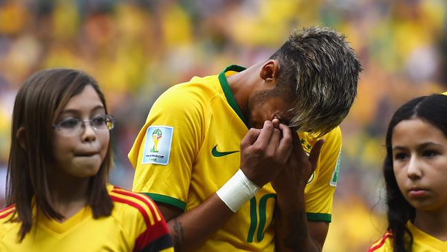 Neymar of Brazil cries during the anthem ahead of the Mexico game