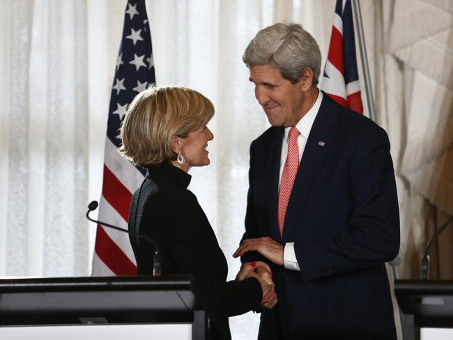 Making plans ... Australian Foreign Minister Julie Bishop and Secretary of State of the United States of America, John Kerry in Sydney for the annual Ausmin Conference, Australia-United States Ministerial Consultations in Sydney. Picture: Tim Hunter