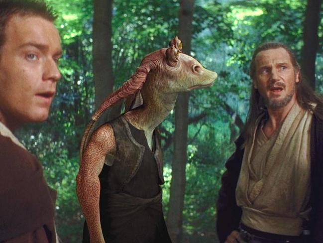 Bad choice ... Ewan McGregor with Liam Neeson and Jar Jar Binks in The Phantom Menace. Picture: Supplied