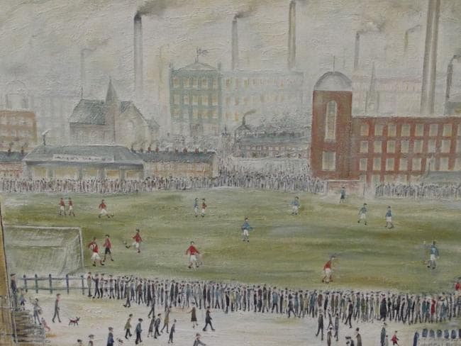 One of Greenhalgh's fake L.S. Lowry's paintings, entitled 'Before Kick Off'. Picture: Bolton Auction Rooms/BNPS