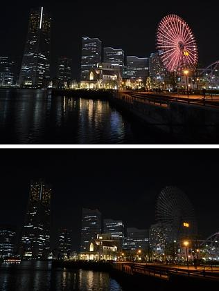 Dark night... Tokyo suburb Yokohama's waterfront before and after it was submerged into darkness. Picture: Yoshikazu Tsuno/AFP