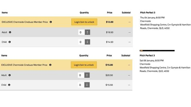 Screenshots showing alleged surge pricing at Event Cinemas. Picture: Supplied