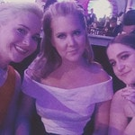 "Amy Schumer with Jennifer Lawrence and Kim Caramele ... ""So happy for our friend."" Picture: Instagram"