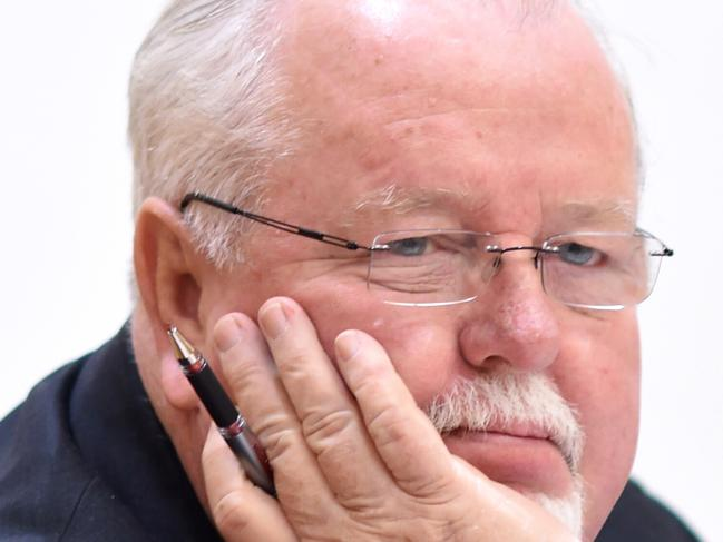 ***FILE*** An October 14, 2016 file picture of Coalition Senator Barry O'Sullivan reacts during a Senate inquiry at Parliament House in Canberra. Government backbencher Barry O'Sullivan's business dealings may put him in breach of the Australian Constitution. (AAP Image/Lukas Coch) NO ARCHIVING
