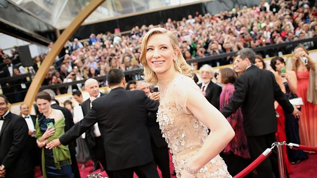 Best Actress ... Cate Blanchett on the red carpet today. Picture: Christopher Polk