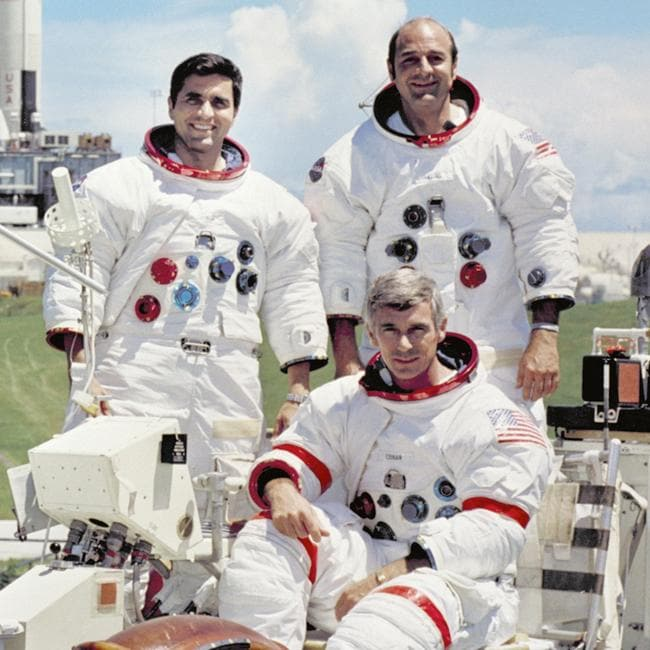 The crew of the Apollo 17 lunar landing mission: Commander Eugene A. Cernan (front), lunar module pilot Harrison H. Schmitt and command module pilot Ronald E. Evans.