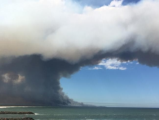 Smoke visible from the blaze. Picture: Samantha Castillo