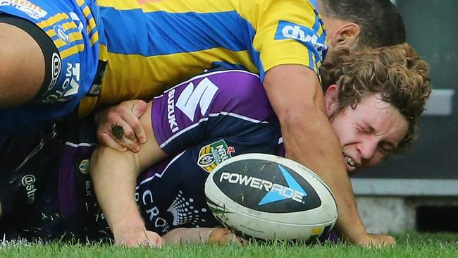 Kurt Mann of the Storm scores a try.