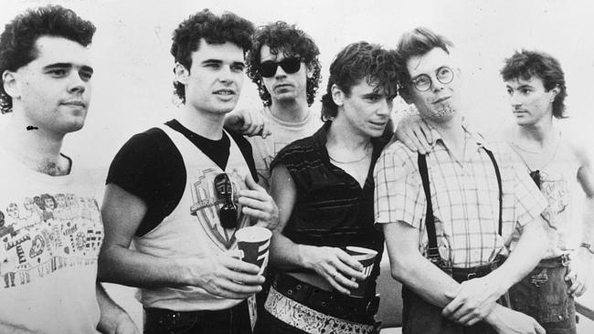INXS in 1983. L-R: Andrew Farriss, Jon Farriss, Michael Hutchence, Tim Farriss, Kirk Pengilly and Garry Gary Beers.