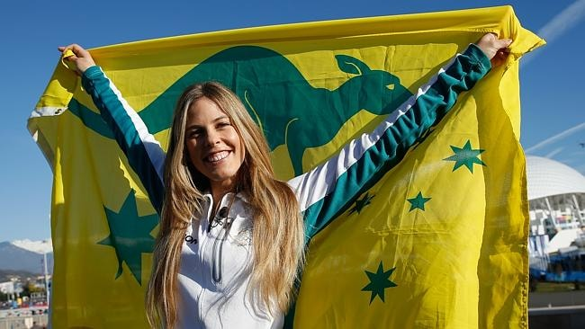 Torah Bright of the Australian Snowboard team poses in the Olympic Park during the Sochi 2014 Winter Olympics.